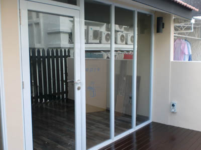 2 Panels Sliding Door With Single Panel Swing Glass Door Code
